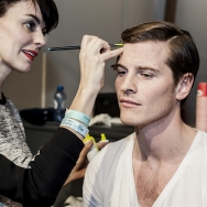 Backstage-at-Cold-Method-AW-2013-Model-is-getting-neon-make-up