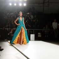 FRANK Model in blue and yellow dress