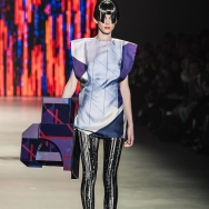 Marga Weimans A/W 2013 - Printed silk dress with a colourful acrylic cube as accessory