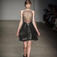 Rebecca-Ward-ss2014-Leather-skirt-with-frills-and-sheer-top