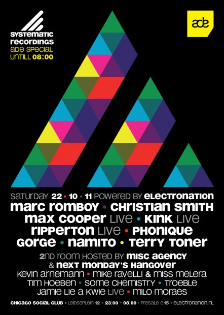 ADE systematic recordings marc romboy next monday's hangover some chemistry troeble electronation
