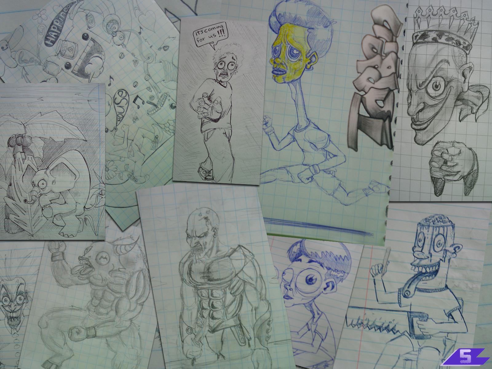 Marieken van Huijstee - assembly of doodle characters