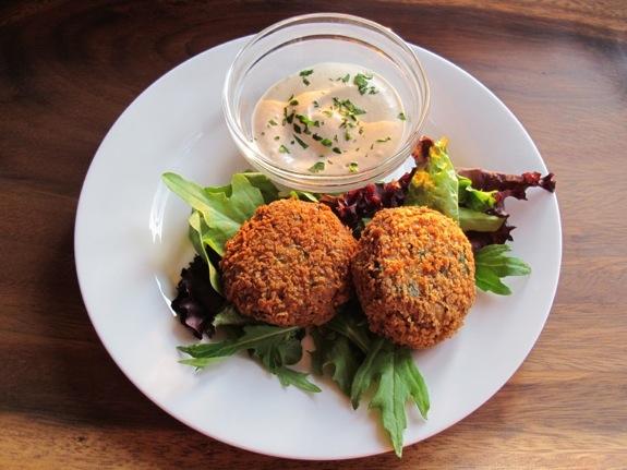JHM a cross between a falafel, a latke, and a chickpea veggie burger