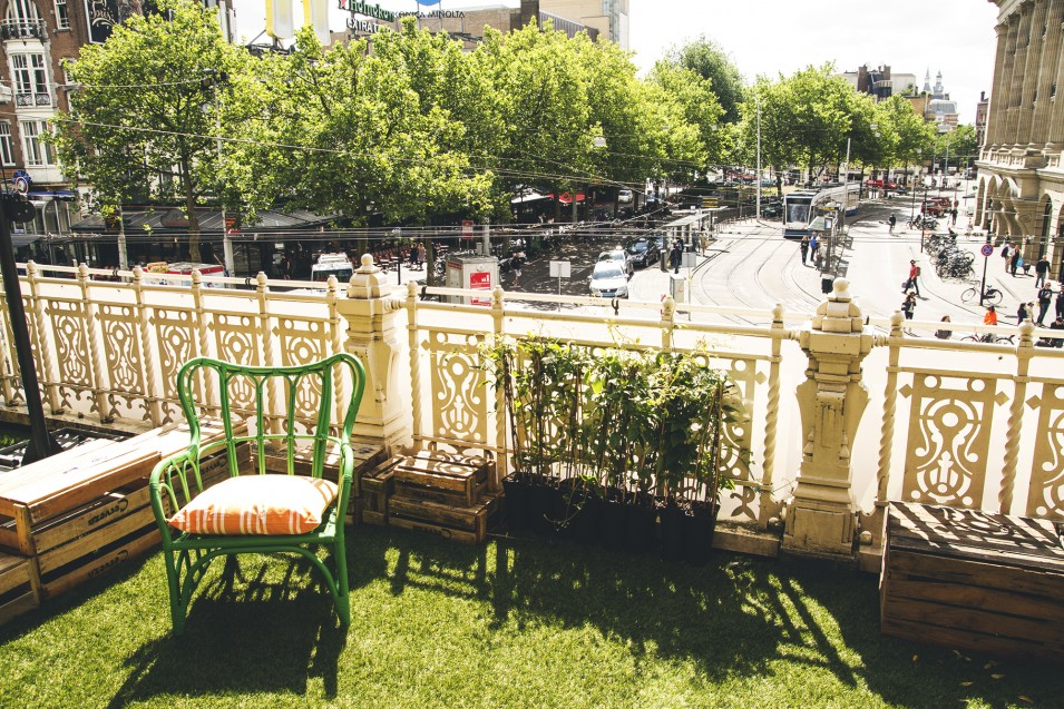 Pop-up city park at the Stadsschouwburg