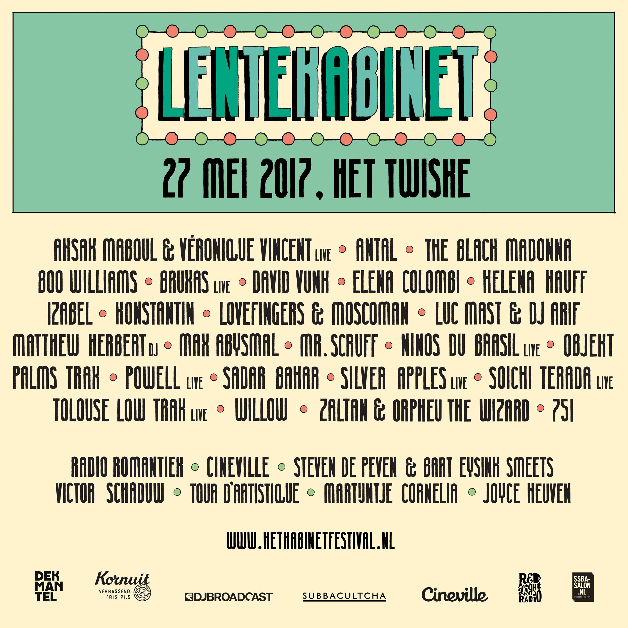Lente Kabinet 2017 - Line-up